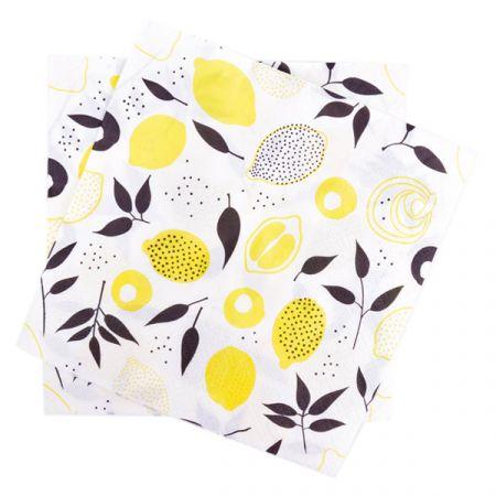 מפיות נייר 2 שכ 33X33 סמ 20 יח - לימונים שחור צהוב