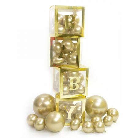 קופסה למילוי בלונים לדקורציה עם חלון- זהב (מארז BABY)