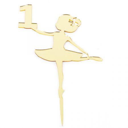טופר אקרילי לעוגה- 1 יח- רקדנית 1 זהב