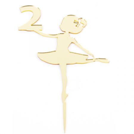 טופר אקרילי לעוגה- 1 יח- רקדנית 2 זהב