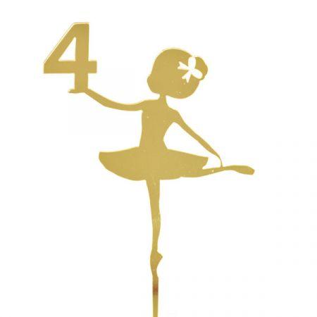 טופר אקרילי לעוגה- 1 יח- רקדנית 4 זהב