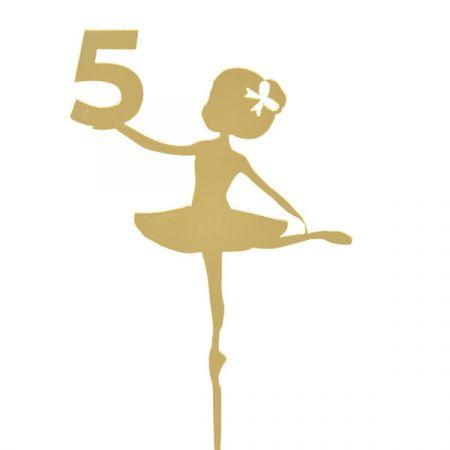 טופר אקרילי לעוגה- 1 יח- רקדנית 5 זהב