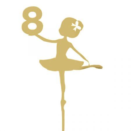 טופר אקרילי לעוגה- 1 יח- רקדנית 8 זהב