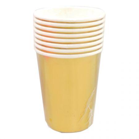 כוסות נייר 8 יח - זהב