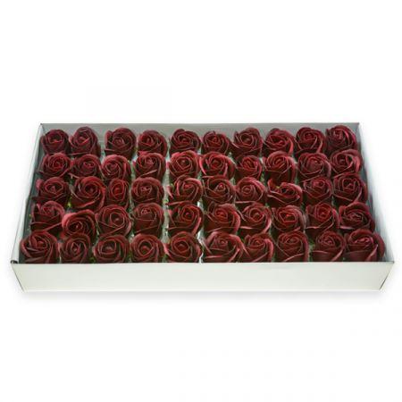 50 פרחי סבון בקופסא - בורגונדי - ללא זכות החזרה