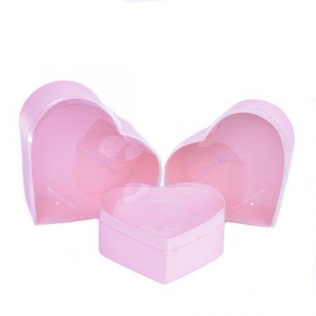 סט 3 קופסאות לבבות בגדלים - רוז גולד עם מכסה שקוף