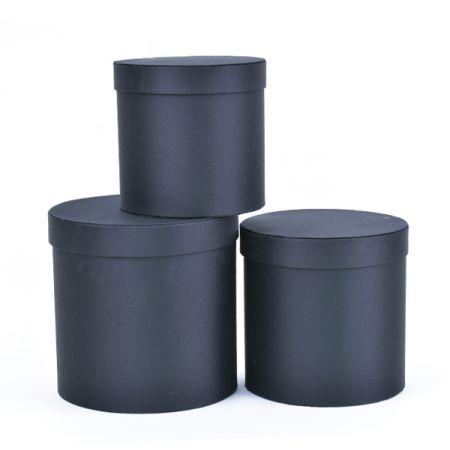 סט 3 קופסאות עגולות בגדלים - שחור