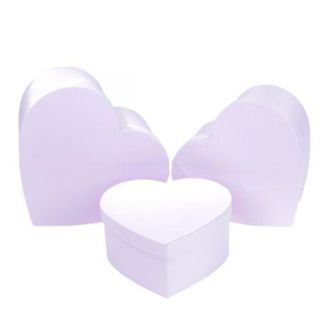 סט 3 קופסאות לבבות בגדלים - ורוד