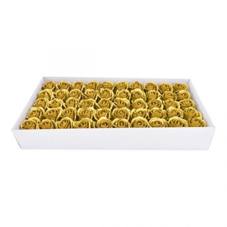 50 פרחי סבון בקופסא - זהב - ללא זכות החזרה