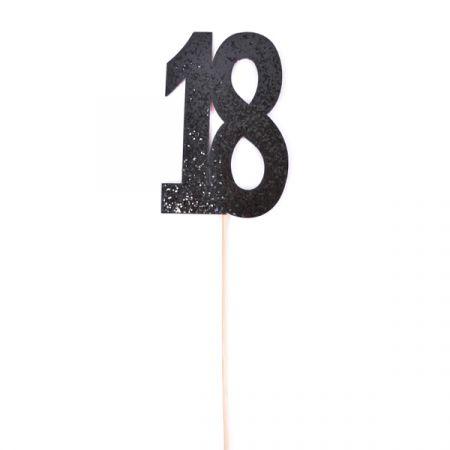 טופר גליטר שחור עם כתר מספר 18