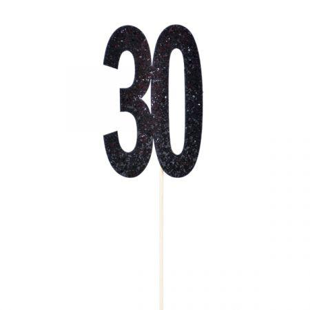 טופר גליטר שחור עם כתר מספר 30