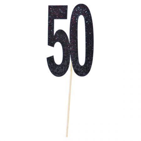 טופר גליטר שחור עם כתר מספר 50