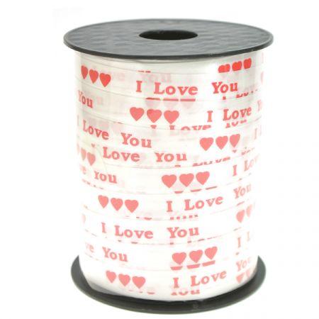 סרט מודפס 10ממ250X יארד- I LOVE YOU-אדום לבן