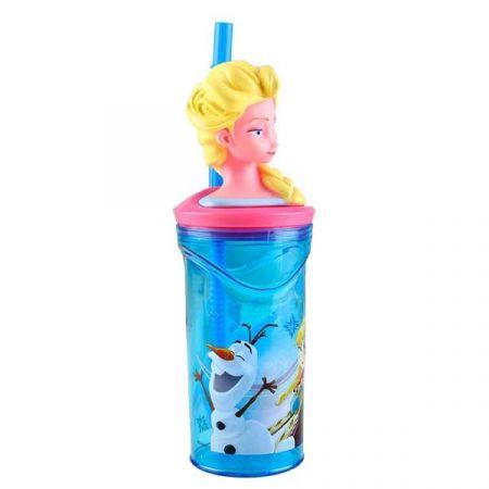 כוס דמות 3D עם קש פרוזן - אקווה אירידסנט 360 מל