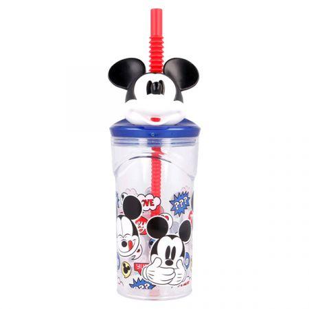 כוס דמות 3D עם קש - מיקי