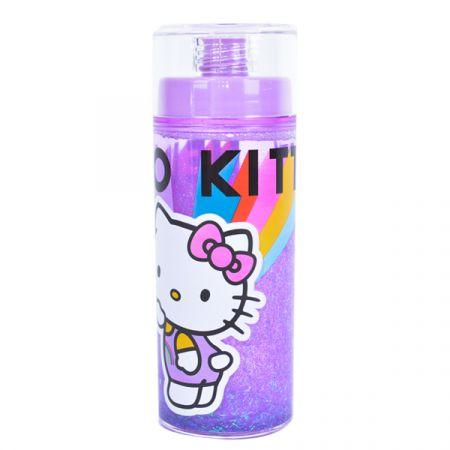 בקבוק פלסטיק 370 מל דופן כפולה עם נצנצים - הלו קיטי
