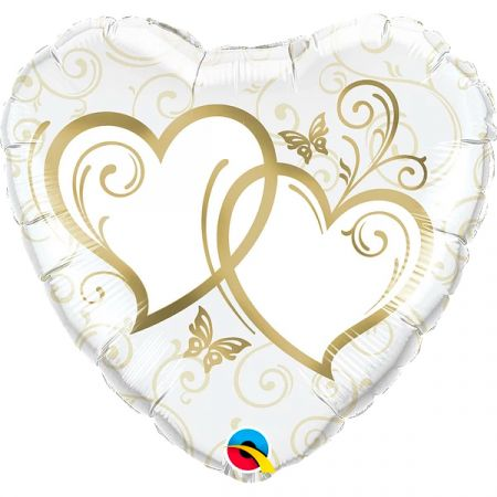 בלון מיילר 18 בצורת לב לבן עם לבבות מוזהבים