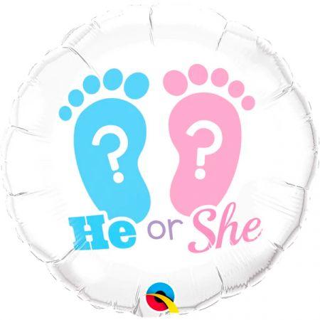 בלון Q18 בן או בת - טביעת רגל ורוד ותכלת - 1 יחי