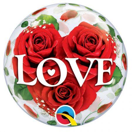 בלון על מקל Q סינגל בבל ורדים LOVE