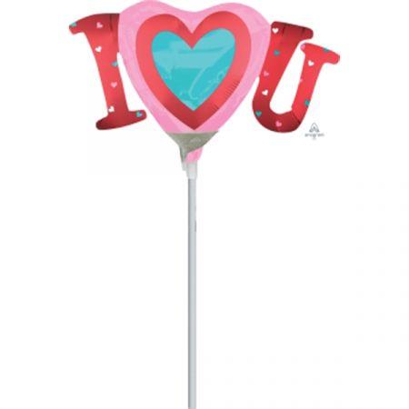 בלון על מקל 9- I LOVE U ורוד לב בתוך לב