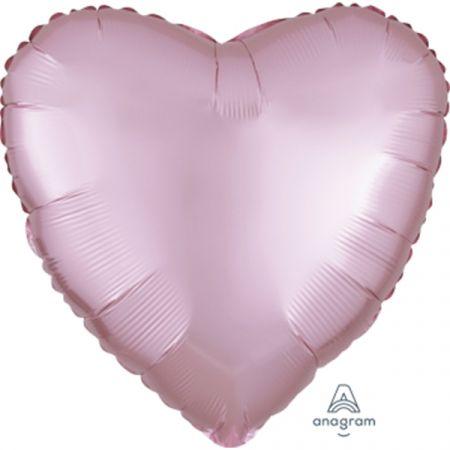 בלון מיילר 18- חלק לב ורוד פסטל מט כרום אנגרם
