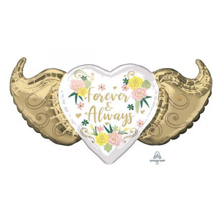בלון מיילר 20 בצורת לב עם כנפיים