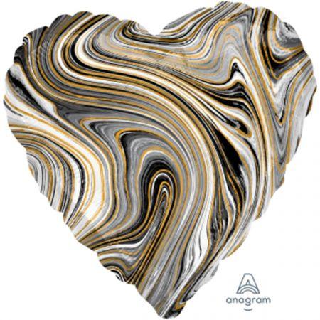 בלון מיילר 18 - שיש שחור בצורת לב