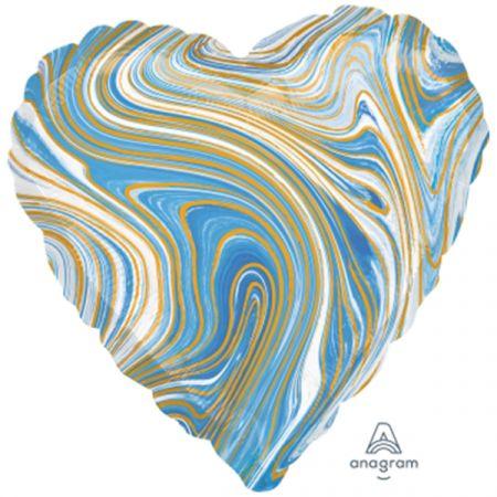 בלון מיילר 18 - שיש כחול בצורת לב