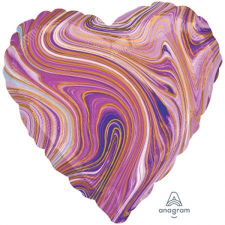 בלון מיילר 18 - שיש סגול בצורת לב