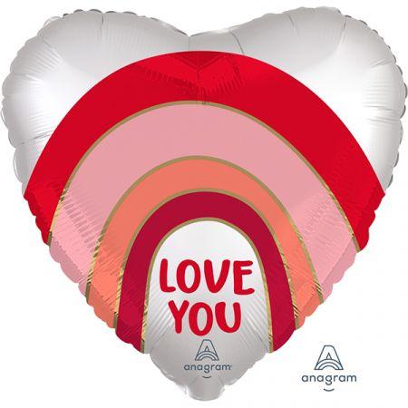 בלון מיילר 18 בצורת לב סאטן קשת - אהבה