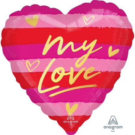 בלון מיילר 18 בצורת לב - MY LOVE