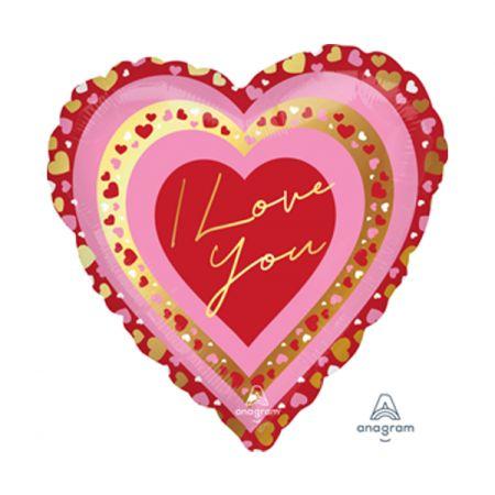 בלון מיילר 18 בצורת לב עם תחרה - אהבה