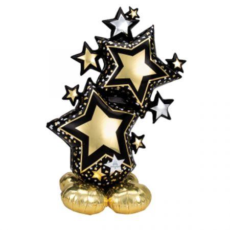 בלון איירלונז ניפוח באוויר 53 בצורת כוכבים שחור וזהב