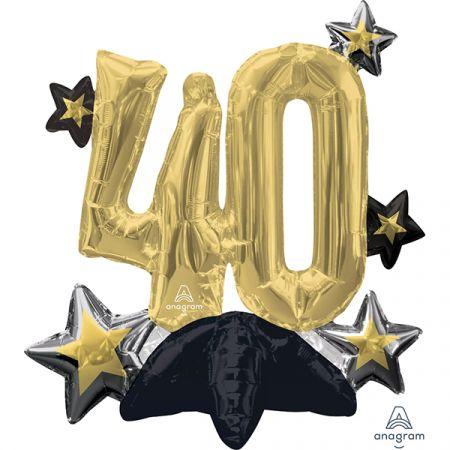 בלון מיילר 20 מרכז שולחן - ספרה 40 עם כוכבים שחור זהב