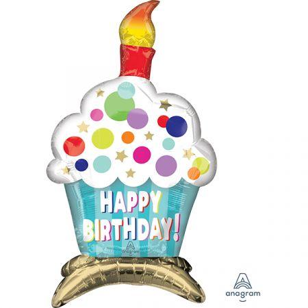 בלון מיילר 24 מרכז שולחן בצורת קאפקייק יום הולדת שמח