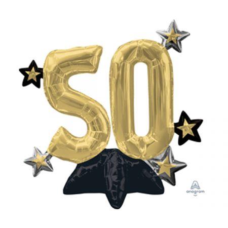 בלון מיילר 20 מרכז שולחן - ספרה 50 עם כוכבים שחור זהב