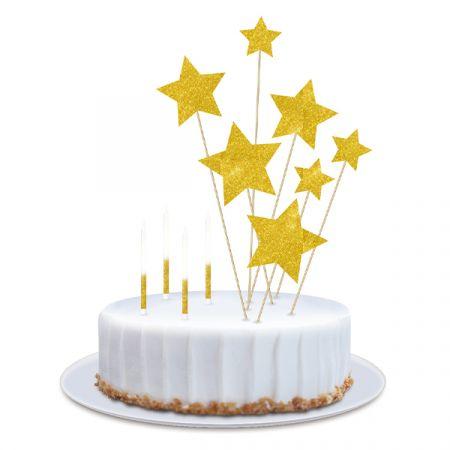 ערכת נרות וטופרים לעוגה - כוכבים גליטר - זהב