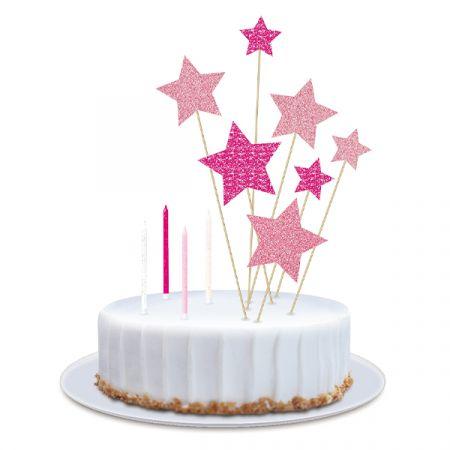 ערכת נרות וטופרים לעוגה - כוכבים גליטר - ורוד