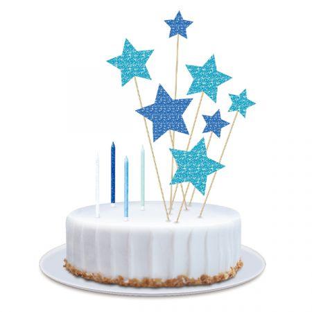 ערכת נרות וטופרים לעוגה - כוכבים גליטר - כחול