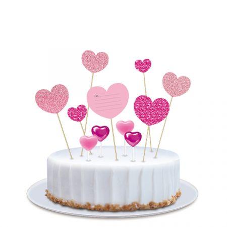 ערכת נרות וטופרים לעוגה - לבבות גליטר - ורוד