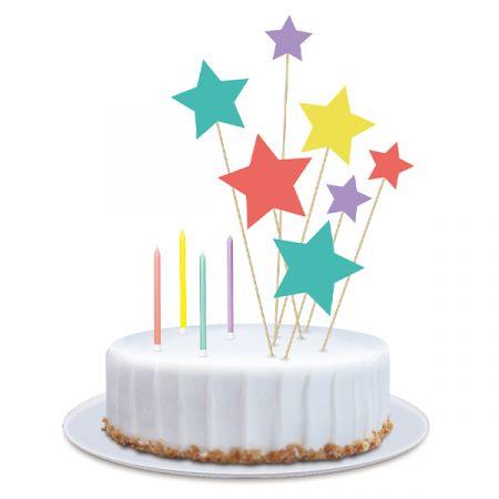 ערכת נרות וטופרים לעוגה - כוכבים קונפטי - צבעוני