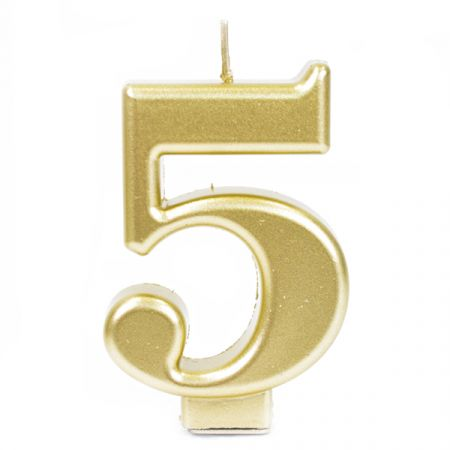 נר גדול עם מעמד שחור זהב מטאלי - ספרה 5