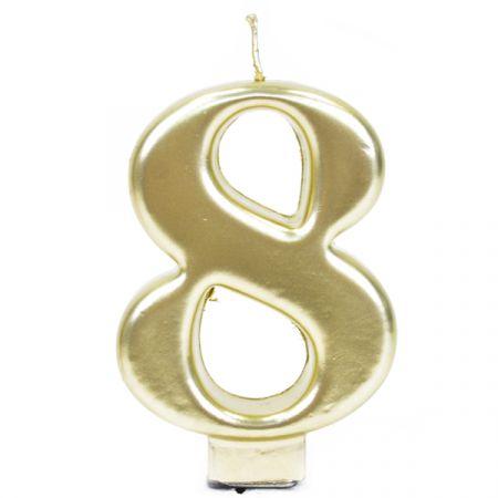 נר גדול עם מעמד שחור זהב מטאלי - ספרה 8