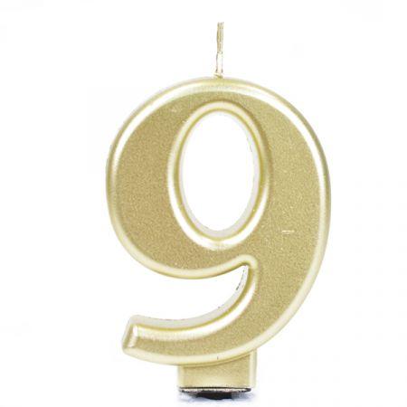 נר גדול עם מעמד שחור זהב מטאלי - ספרה 9
