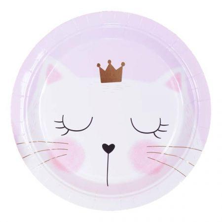 צלחות נייר 20 סמ עגולות- 6 יח חתול זהב