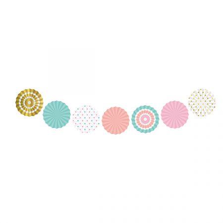 מניפות נייר מיני- קוטר 10 סמ 7 יח צבעי פסטל