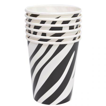 כוסות נייר 6 יח - ספארי זברה