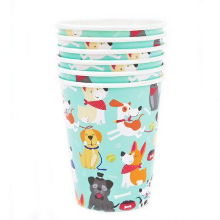 כוסות נייר- 6 יח - מסיבת כלבים