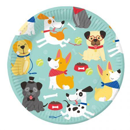 צלחות נייר 20 סמ עגולות - 6 יחידות - מסיבת כלבים