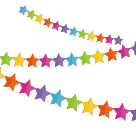 קישוט גרלנדה בצורת כוכב צבעוני